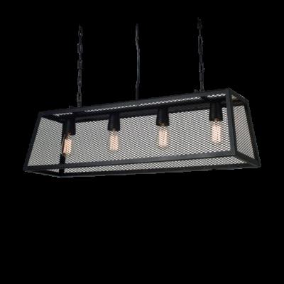 Colgante Pilar cuatro luces con malla metálica, apto led, decoración, iluminación led