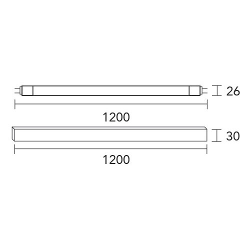 tubo led, medidas, led, alacenas, 120cm, liston