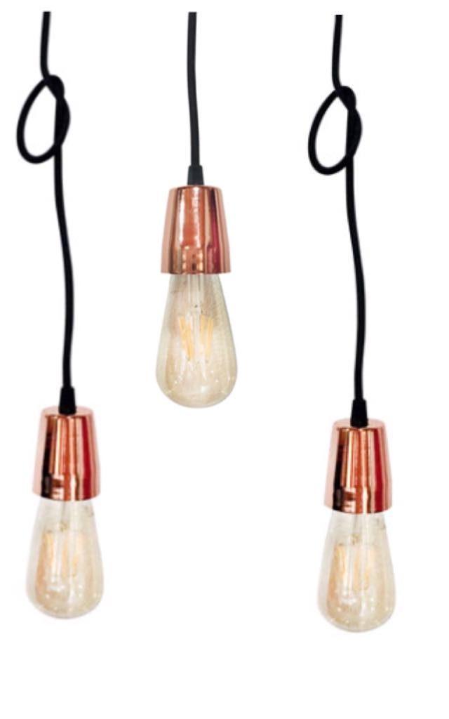 Conjunto de lamparas colgante de diseño con cable textil mas portalámparas apto Led. Vintage.