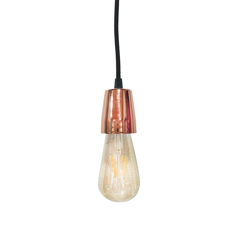 Lampara Colgante de diseño con cable textil mas portalámparas apto Led. Vintage.