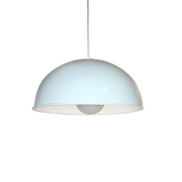 Lampara colgante media esfera color celeste, apto bombilla Led. Ideal Foco Globo LED.