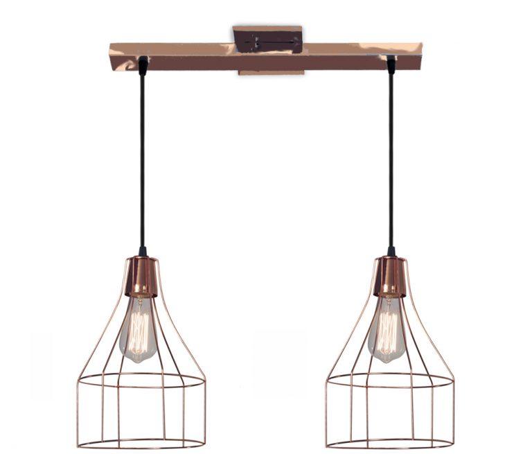 Colgantes dos luces Jaula Diamante, Apto Led, Decorativa, Lampara de diseño, filamento de led, vintage