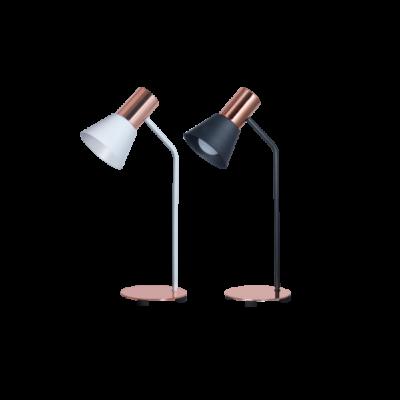 lampara de mesa ostende blanco y cobre