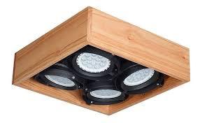 módulo de 4 luces cuadrado en madera