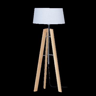 Lampara de pie madera natural pantalla blanca modelo milenial