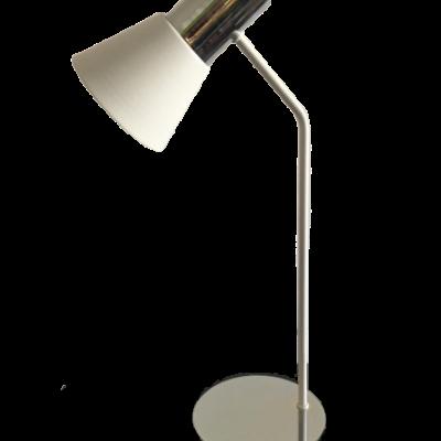 lampara de mesa ostende blanco y cromado