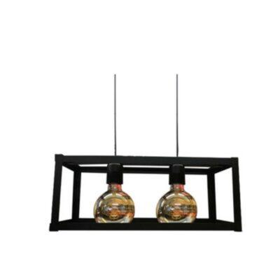 colgante cubo negro 2 luces