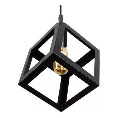 Lampara Colgante Cubo 1 Luz Negro