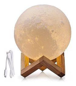Lampara Velador Led Luna Moon 15cm Mesa Touch Eco 3d Deco