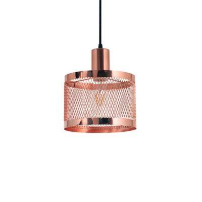 Colgante metálico Pilar de 1 luz para lámpara E27, pantalla con malla COBRE