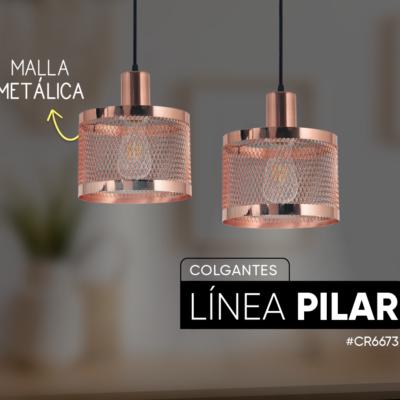 Colgante metálico Pilar de 1 luz para lámpara E27, pantalla con malla.