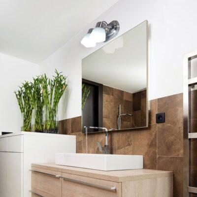 Iluminacion baño aplique dos luces belen acero