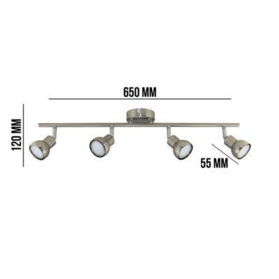 MODELO SPOT 4 LUCES DEO Material: Metal Tensión: 220v Frecuencia: 50H