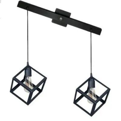 Colgante industrial 2 luces modelo cubo negro